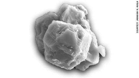 A magnified view of a presolar grain, or stardust, is shown here. The grain is about 8 micrometers.
