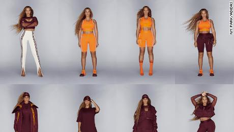 Beyoncé models some styles from her new Ivy Park x Adidas clothing line, which was released a day early on Friday.