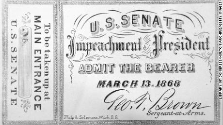 A facsimile of the admission ticket to the impeachment of President Andrew Johnson, March 13, 1868.