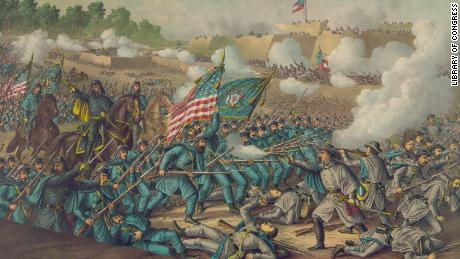 A fanciful depiction of the 1862 Battle of Williamsburg. The Union occupied the area afterward.