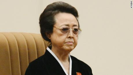 Kim Kyong Hui, the younger sister of former North Korean leader Kim Jong Il, attending a gathering in Pyongyang in December 2012 to mourn her late brother.