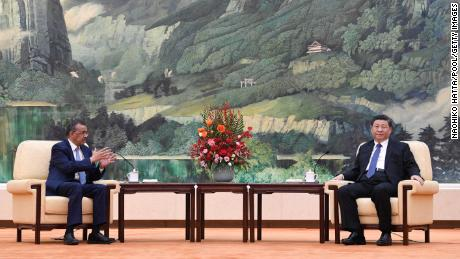 Tedros Adhanom, director general of the World Health Organization, attends a meeting with Chinese President Xi Jinping in the Great Hall of the People on January 28, 2020 in Beijing, China.