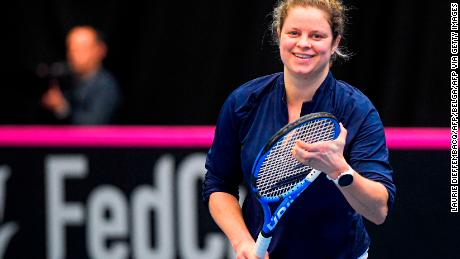 Kim Clijsters participates in a training session of the Belgian national tennis team.
