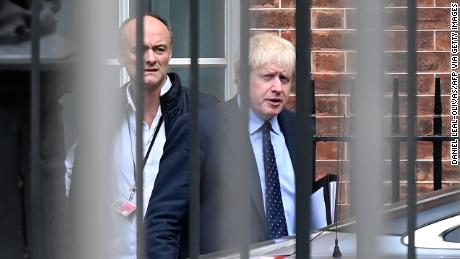 Boris Johnson (R) and Dominic Cummings in Downing Street in September.