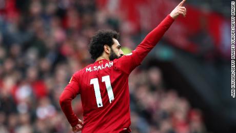 Salah celebrates scoring against Bournemouth.