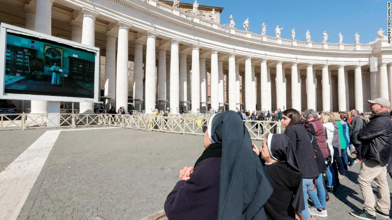 The Pope's prayer was livestreamed in St. Peter's Square.