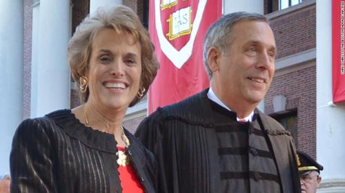 Lawrence Bacow, right, and his wife Adele Fleet Bacow leave Harvard Yard after his inauguration as the 29th President of Harvard University, Friday, Oct. 5, 2018 in Cambridge, Mass.