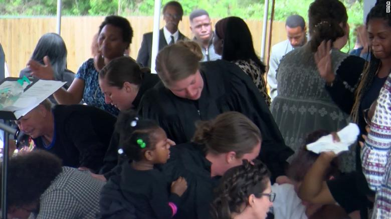 A scene from services Sunday at Life Tabernacle Church in Baton Rouge, Louisiana.