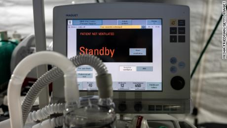 A ventilator and other hospital equipment are seen in an emergency campaign hospital in Central Park in New York to assist in the response to the Covid-19 pandemic.