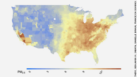 Average PM2.5 concentrations at the American county level (2000-2016) Citation: Exposure to air pollution and mortality from COVID-19 in the United States. Xiao Wu, Rachel C. Nethery, Benjamin M. Sabath, Danielle Braun, Francesca Dominici. medRxiv 2020.04.05.20054502