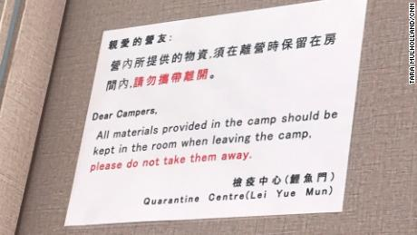 Instructions for inmates in quarantine camps