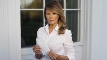 Melania Trump encourages the use of a face mask with a photo of herself