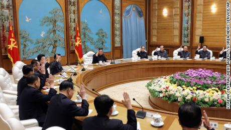 This photo provided by the North Korean government on Sunday purports to show North Korean leader Kim Jong Un, at the top of the center, attending a meeting of the political bureau of the government in power & # 39; Korean party in Pyongyang on Saturday.