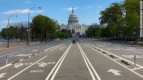 Empty Pennsylvania Avenue with the U.S. Capitol on April 15, 2020.
