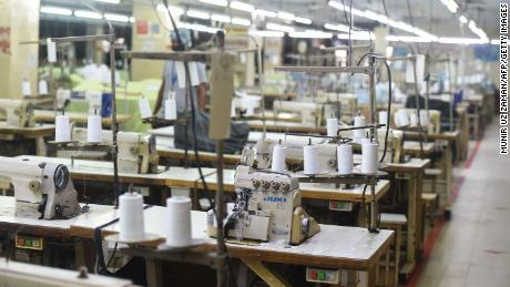 A clothing factory is considered empty during the government-imposed closure as a preventive measure against the COVID-19 coronavirus, in Dhaka on April 6, 2020.