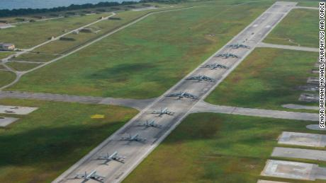 """US military aircraft perform an """"elephant walk,"""" a large show of their numbers, at Andersen Air Force Base on Guam in April."""