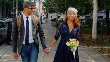 Dr. Rob Gore and Hibist Legesse in New York City on their wedding day in 2016. They first met in his Brooklyn restaurant.