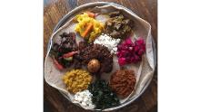 A dish of food at the New York Hibist Legesse restaurant, Bati Ethiopian Kitchen. The coronavirus pandemic has forced the restaurant dining room to close, and Legesse is working to get grants or loans to keep the business afloat.