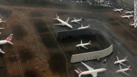 British Airways planes sit parked at Heathrow.