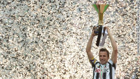 Del Piero festeggia il suo team vincente, Italia's la Serie a nel 2012.