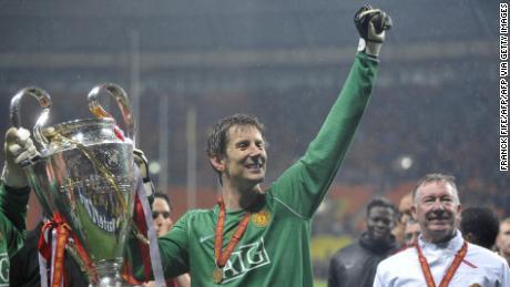 Van der Sar regge la Champions League dopo il Manchester United ha battuto il Chelsea nella finale del 21 Maggio 2008.