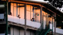 In Singapore, migrant workers can be seen in a purpose-built dormitory at an isolation area last April.