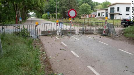 A barricaded road leads from the Netherlands to Belgium.