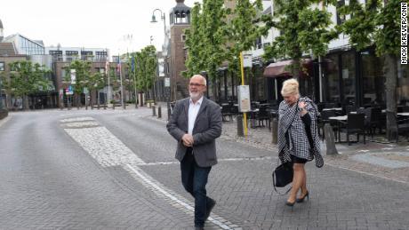 The twin mayors of Baarle: Frans de Bont, of Baarle-Hertog, Belgium, and Marjon de Hoon-Veelenturf, of Baarle-Nassau, The Netherlands.