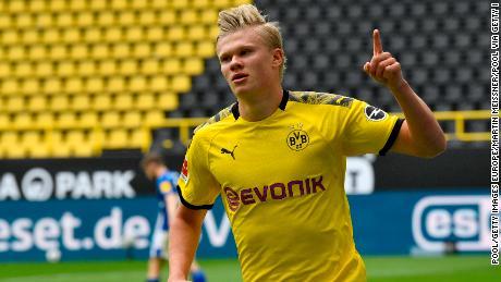 Erling Braut Haaland celebrates after scoring for Borussia Dortmund Saturday.