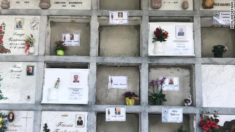 Fresh tombs in Nembro's cemetery. This town suffered one of Italy's highest per capita death tolls as a result of coronavirus. Its undertakers and cemetery workers have been busy.