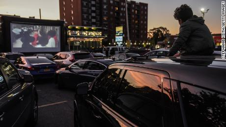 A child watches a movie at a drive-in movie at the Bel Aire diner in Queens, New York City.