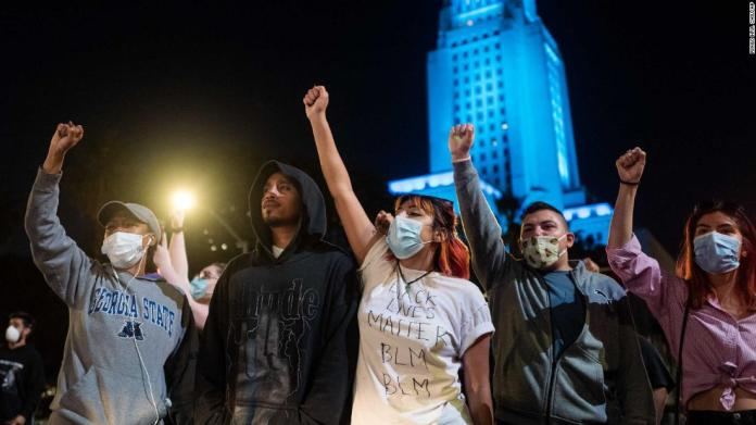 Protesters gather in Los Angeles on May 27.