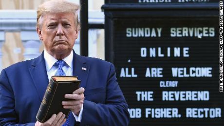 US President Donald Trump has kept a Bible outside St. John's Episcopal Church in Lafayette Park, Washington.