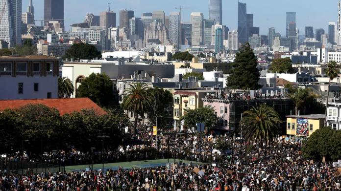 Protesters pack into Dolores Park during a demonstration in San Francisco on June 3.