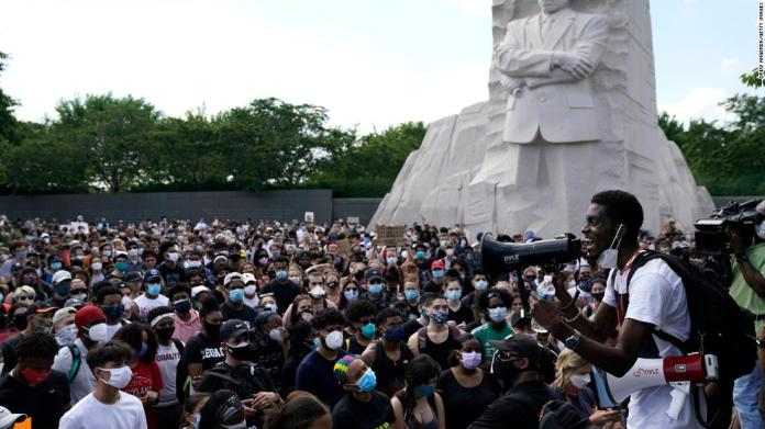 Protesters in Washington gather at the Martin Luther King Jr. Memorial on June 4.