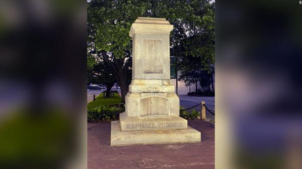 The pedestal where the statue of Raphael Semmes once stood is now empty.