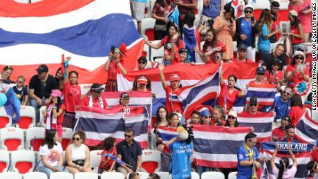 Thailand football fans show their support.