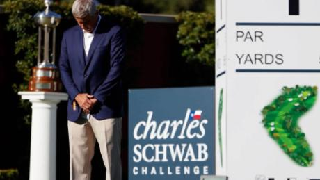Monahan takes part in a moment of silence to honor George Floyd during the first round of the Charles Schwab Challenge on June 11.