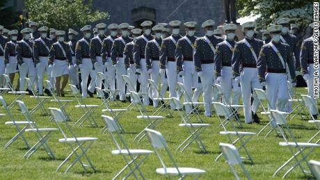 Cadets arrive at West Point, New York on June 13, 2020 for the 2020 graduation ceremony.