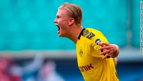 Dortmund's Norwegian forward Erling Braut Haaland shows his delight after bagging the second and decisive goal for Borussia Dortmund at RB Leipzig.