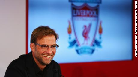 Klopp is unveiled as  Liverpool's new manager during a press conference at Anfield on October 9, 2015.