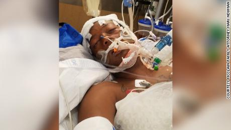 Elijah McClain lies in the hospital after his confrontation with Aurora police in August 2019.