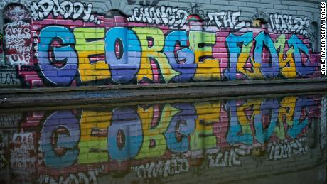 Graffiti bearing the name of George Floyd is seen June 24 in Cal Anderson Park in the CHOP.