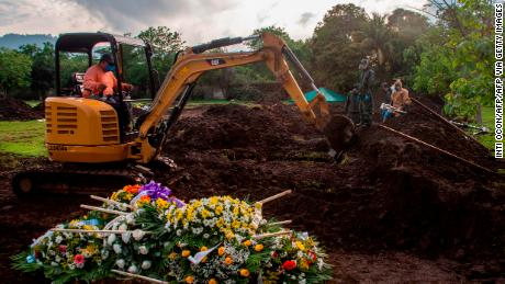 The grave of an evangelical pastor, who reportedly died from Covid-19, at a cemetery in Managua, Nicaragua, on June 5, 2020.