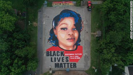 Artists and volunteers painted a 7,000 square foot mural of Breonna Taylor over the July 4 weekend