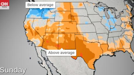 The high temperatures in the south of the country contrast with the colder temperatures in the northwest.