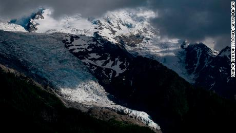The Bossons Glacier is close to the ski town of Chamonix.