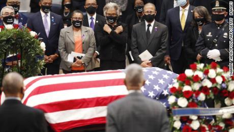 Rep. John Lewis' casket is seen in the Capitol Rotunda earlier this summer.