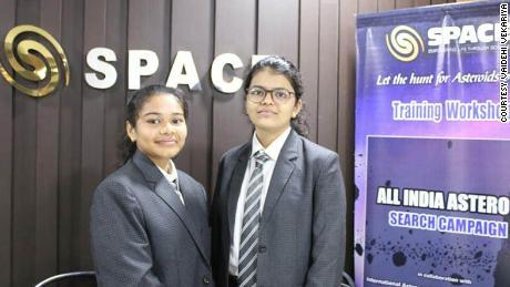 Radhika Lakhani is standing to the left with her project partner Vaidehi Vekariya.