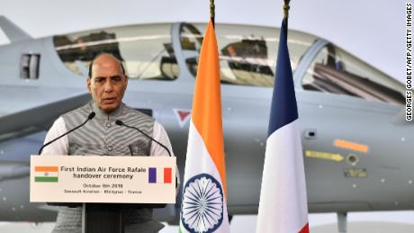 Indian Defense Minister Rajnath Singh speaks during the ceremony of delivering the first of 36 Rafale fighter jets destined for India on 8 October 2019 at the Dassault Aviation plant in Merignac, France.